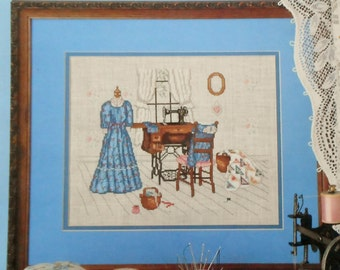 Paula Vaughan Vaughn The UPSTAIRS SEWING ROOM By Leisure Arts - Counted Cross Stitch Pattern
