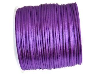 2 mm Purple satin rattail cord, Macrame cord, Satin Rattail Cord for macrame, jewelry making, knotting, kumihimo cord 5m  5.5 yards S 40 032