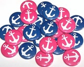 "Nautical Anchors Gender Reveal Party Set of 24 Buttons Baby Shower Favor 1"" or 1.5"" or 2.25"" Pin Back Button Pink Blue 1"" Magnets"