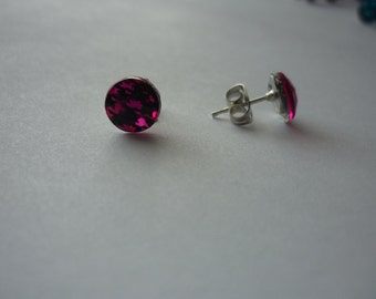 Hot pink houndstooth earrings