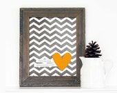 Each Beat of My Heart - Love Poster Wedding Nursery Gray Chevron Gold Yellow Orange Heart - Love Art Print