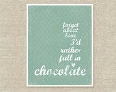 Funny Typographic Poster - Anti Love - Fall in Chocolate - Aqua Blue Digital Wall Art Print Quatrefoil Pattern