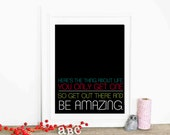 Neon Typography Poster Inspirational Digital Art Print Be Amazing - Black Amazing Inspirational Multicolor Digital Art Print Rainbow