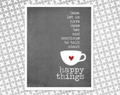Poster - Tea and Happy Things - Friendship Gift - Tea Lover - Gray Digital Art Print Typography