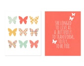 Childrens Print, Typography Poster, Digital Print, Kids Wall Art Butterfly Spring Digital Posters, Playroom Nursery Art Coral Typography