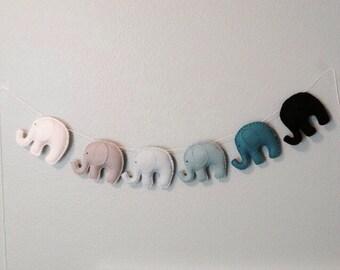 Ombré blues and teals Elephant garland. Nursery, kids room,