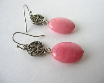 Hand crafted Pink Morganite and Antiqued Silver Dangles