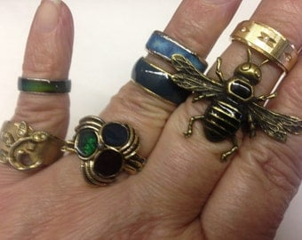 Antique Costume Rings Gold & Silver tone Rhinestone Vintage lot 551