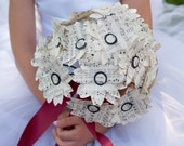 Hymnal or Book Page Paper Daisy Wedding Bouquet