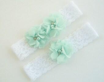 Wedding Garter , Garter Set with Toss Garter in soft Green, Bridal Garter with Chiffon Blossoms pearls and rhinestones