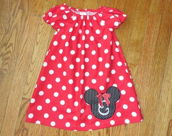 Girl's Infants Toddlers Peasant Dress -  Personalized Mickey Mouse Dress