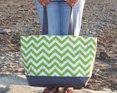 "EXtra LARGE Tote Bag - Chevron Chartruese Green & Gray or Choose From 17 CUSTOM Chevron Colors - ""Family Size"" Canvas Beach Tote Bag"