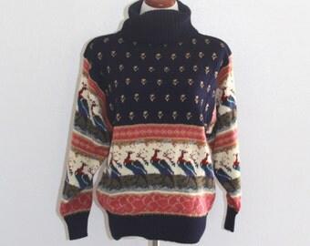 1980s Peacock Sweater Winter Turtleneck Bird Pattern Navy Blue Womens Vintage Large