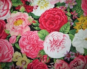 Roses Flowers Paris Roses Reds Pinks Black Cotton Fabric Fat Quarters or Custom Listing