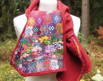 WOOL SHAWL Boiled Wool Embroidery Shawl Scarf Stola Winter Warm Unique Handmade Wearable Art