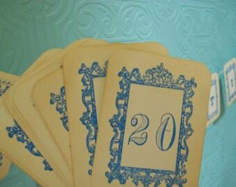 Royal Table Number Cards, Royal frame shower table numbers, royal frame, Vintage blue  table numbers cards