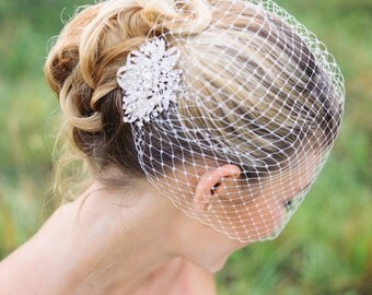Birdcage veil | wedding veil and bridal rhinestone comb | bridal birdcage veil - JADA (free shipping)