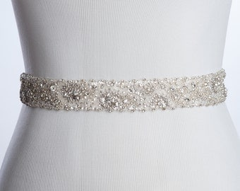 Christiane wedding sash | Bridal sash  | rhinestone beaded sash | bridal beaded sash