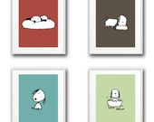 Set of 4 Art Prints - Puppy Love - For Babies/Kids/Nursery - Color Coordinated