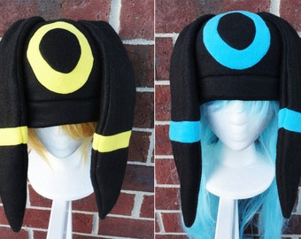 Umbreon and Shiny Umbreon Pokemon Costume Hat - Fleece Hat Adult, Teen, Kid - A winter, nerdy, geekery gift!