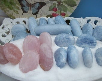 "Sale PALM STONE MASSAGE Wand XLg 3-5"" 4.5-9oz Rose Quartz Blue Calcite Polished Sea Salt Love Visions Dream Creativity Clarity Reiki Crystal"