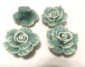 4 Fimo Polymer Clay Green White Flower Large Rose Fimo Beads 40mm