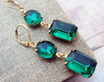 Emerald Earrings Angelina Jolie Emerald Green Earrings Vintage Earrings Bridal Jewelry Green Wedding Jewelry Green Earrings