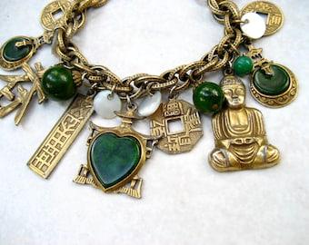 Vintage Signed ART Charm Bracelet Green Bakelite Buddha Asian