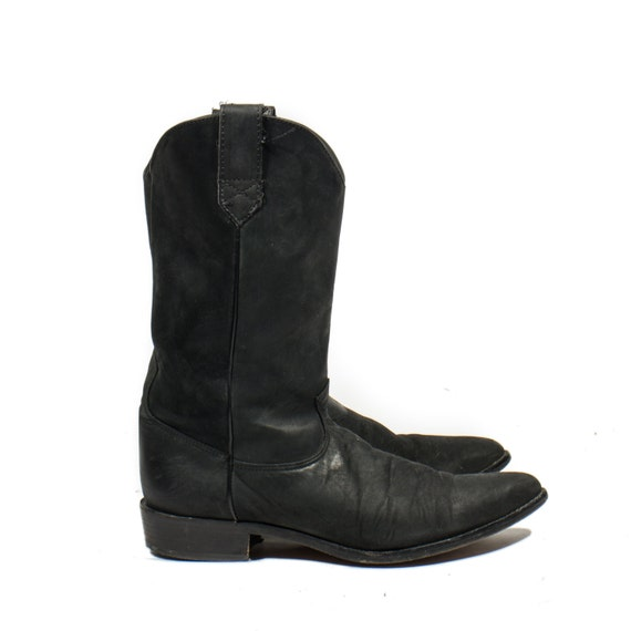 s basic black western cowboy boots roper heel by