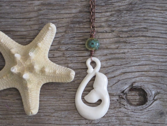 LAST ONE Whale Song Unique Carved Bone Bone Wire Wrapped Curly Whale Tail Necklace
