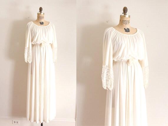 Edwardian style wedding dress 70s creamy full length wedding gown