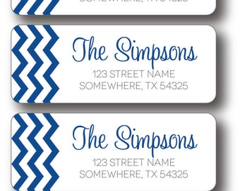 Return Address Labels - Royal Blue Chevron