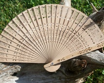 Rustic Wedding Favors, Wood Lace Asian Fans, Personalized Hand Fans