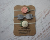 Set of 3 Wool Felt Headbands- Vintage Pink Bitty Bloom, Smoke Grey Mini Bow and Off White Spiral Rosette - Newborn Baby to Adult
