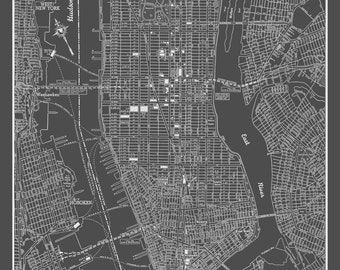 New York City Map - New York City Manhattan Street Map Vintage Dark Gray Print Poster