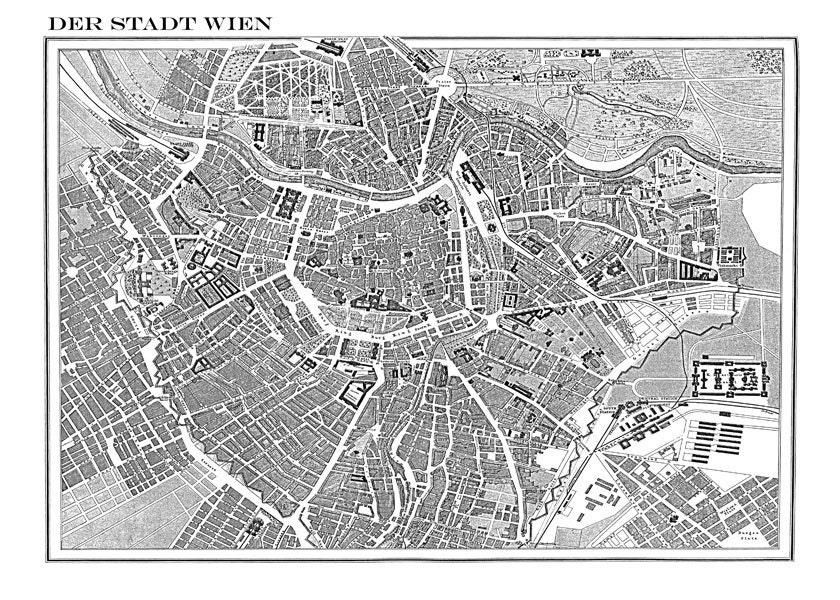 Vintage 1800 Vienna Street Map 11x14 2