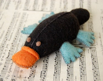 Black Orange and Turquoise Felted Platypus -- Hand Made Felt Pure Merino Wool Toy -- Platypus Collectors