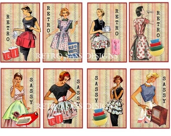 RETRO ladies aprons sassy set of 8 extra large hang tags SASSY tags-journal cards-mini album tags digital delivery