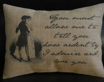Jane Austen Burlap Pillow, literary gift, Pride and Prejudice, INSERT INCLUDED
