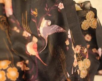 japanese cherry blossom night sparrow whisper soft narrow silk print scarf