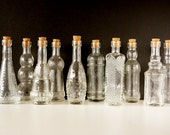 "Decorative Clear Glass Bottles with Corks, 5"" tall (Set of 10) - Small bottles that are perfect for spices, bath salts,  DIY wedding vases"