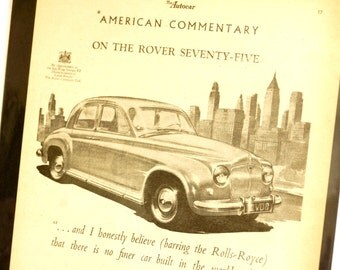 Vintage Rover Seventy Five 75 Original Print Ad, Period Paper (1952) - Automobile Collectible, Ephemera