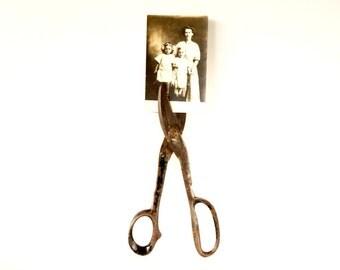 Vintage Large Heavy Metal Scissors | Farm Shears (c.1940s) - Rustic Home Decor, Unique Photo Holder