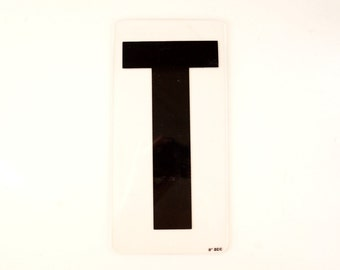 "Vintage Industrial Marquee Sign Letter ""T"", Black on Clear Acrylic (10 inches tall) - Industrial Decor, Altered Art Assemblage Supply"