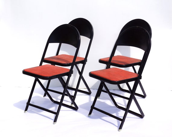 Vintage Metal Folding Chairs in Black and Red Set of 4