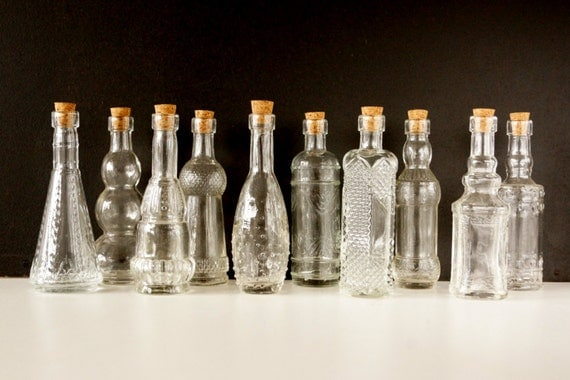 Decorative Bottles With Corks Entrancing Decorative Clear Glass Bottles With Corks 5 Tall Set Design Decoration