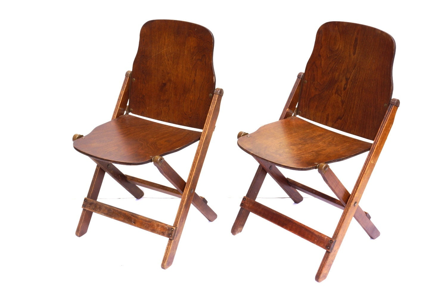 Wood Folding Chairs ~ Vintage antique wood folding chairs with brass hardware set