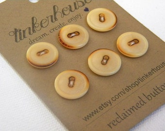 """Buttons! Plastic vintage buttons with a """"burnt"""" look - great for sewing projects - crochet and knitting -  6 pcs."""