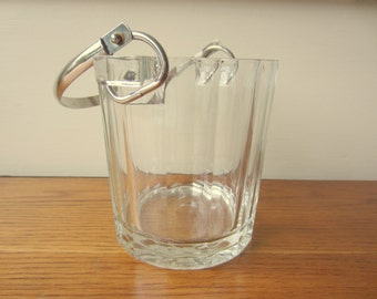 Italian chunky crystal clear bevel glass ice bucket.  Made in Italy.