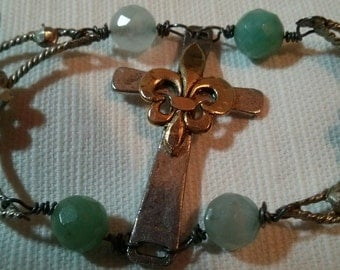 Tis the reason for the season scapular handmade wirewrapped two tone cross cresent moons mary chalcedony charm bracelet